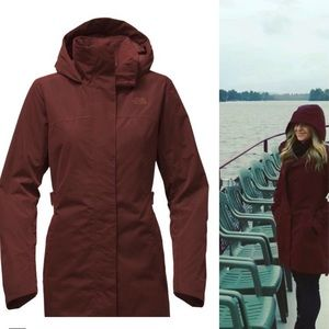 North Face Laney Trench II rain jacket coat sequoia red wine m